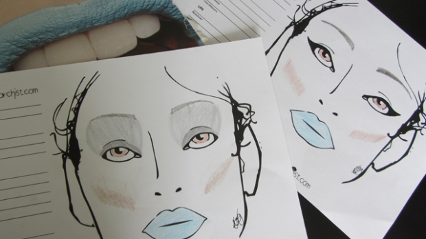 Blue lips clockwise from top left - page from Stylist Magazine, my sensible option, my sci-fi option.