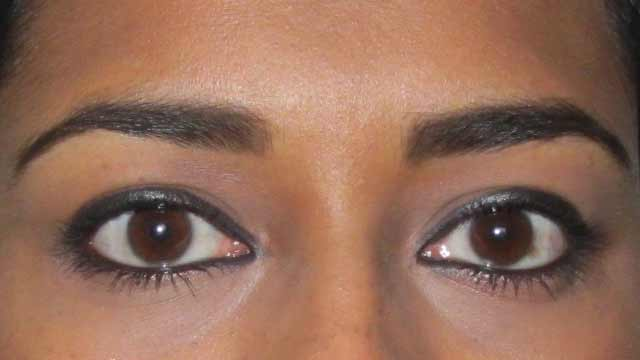 Eyebrows defined using Bobbi Brown Mahogany Eyeshadow and Bella Pierre Cosmetics Dual Brush Precision Liner