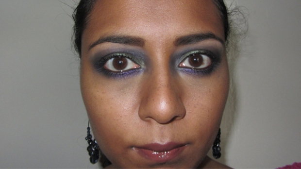 Purple and Green Party Eyes full face