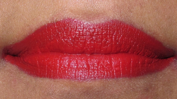 MAC Lip Pencil in Cherry with MAC matte lipstick in Ruby Woo