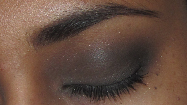 Attempted smoky eye using all of the colours with dark brown brows, Benefit They're Real