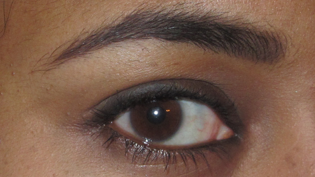 Dark Brown brows - ideal! (Carbon on myupper lashline, with Benefit They're Real mascara and Lancôme Le Crayon Khol on the waterline)