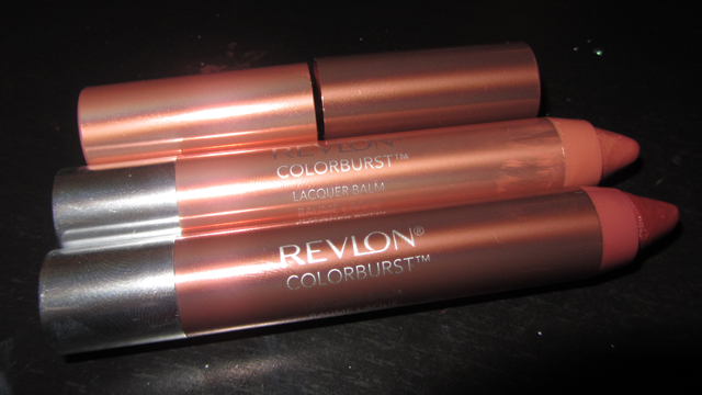 Revlon Colorburst Lacquer Balm in Ingénue (top) with Coy (bottom)