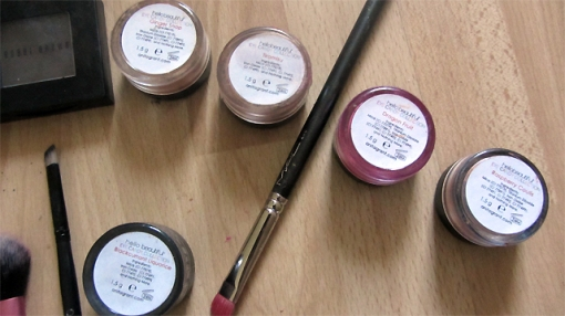 Close-up of eyeshadows with names