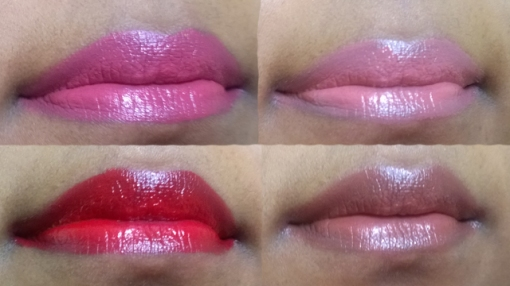 Clockwise from top left: Wildberry 33, Sweet Pink 25, Mocha Shimmer 21 & Red Door Red 02