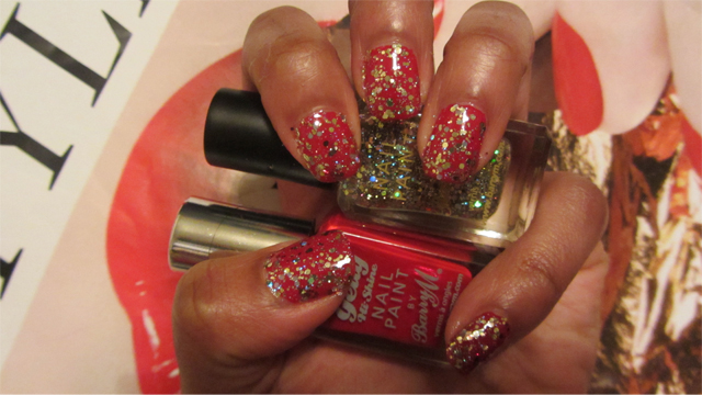 Barry M Nail Paint in Yellow Topaz over Gelly Hi Shine Blood Orange red