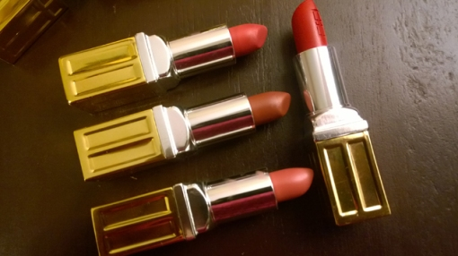 Top to bottom: WIldberry, Mocha Shimmer, Sweet Pink. Right: Red Door Red