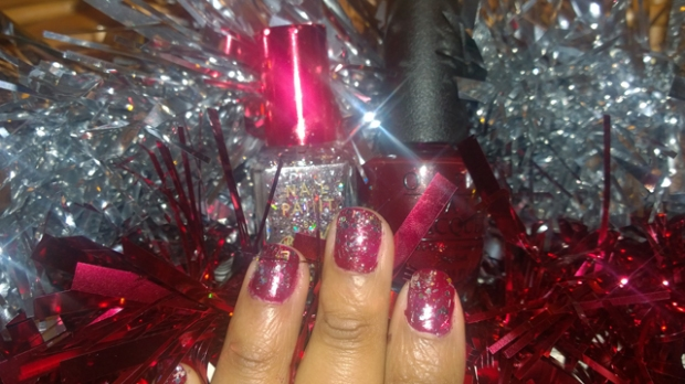 Barry M Nail Paint in Moonlight over OPI Red Fingers and Mistletoes