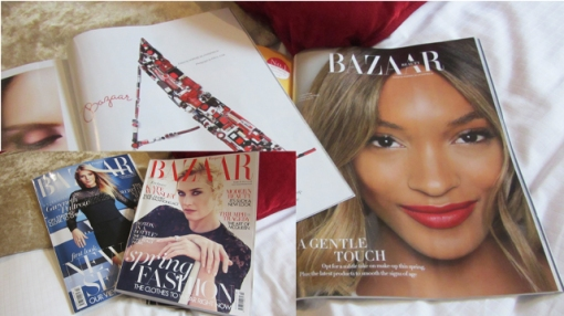 Beauty research with Harper's Bazaar on the comfy cushions
