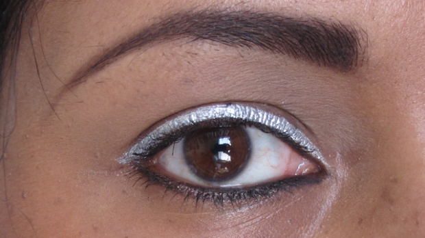Bright Silver Eyes With Red Rosy Lips