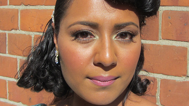 Vintage Pink and Mint Bridesmaid Makeup full face- the sun is in my eyes!