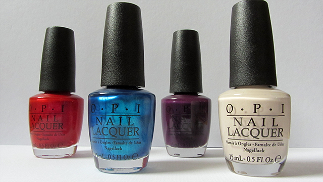 OPI Venice Collection: Gimme a Lido Kiss (red), Venice the Party? (blue) , O Suzi Mio (Purple) and Be There in a Prosecco (off white)