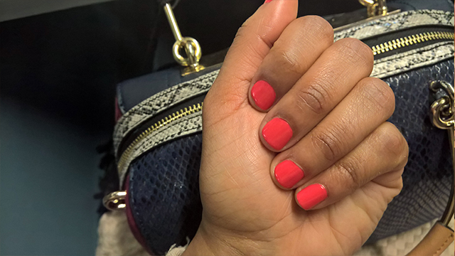 My coral Colour Riot Nails mini manicure.