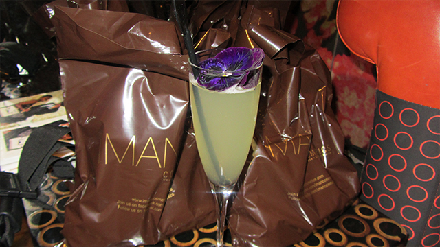 Fancy flower cocktail with the Iman Cosmetics goodie bags