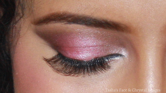 close-up pink smoky eye closed