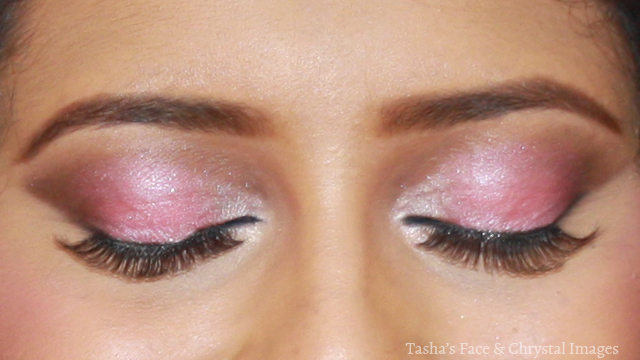 close up pink smoky eyes