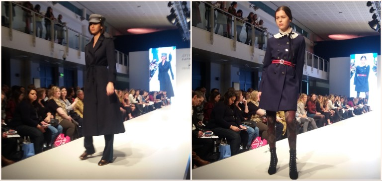 navy coat tashas face stylist live fashion show