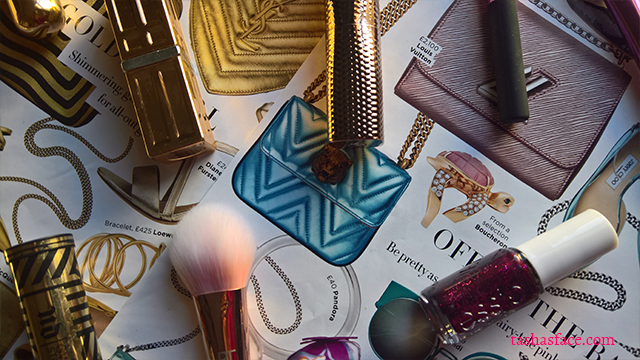 gold jewel pink turquoise makeup fashion flatlay harpers bazaar tashas face