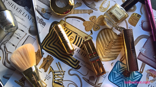 gold silver pink turquoise makeup fashion flatlay harpers bazaar tashas face