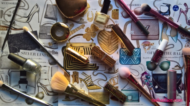 gold silver jewel pink turquoise makeup fashion flatlay harpers bazaar tashas face