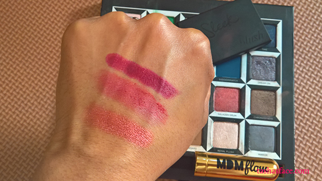 MDMFlow lipstick Sleek blush flushed 935 swatches urban decay alice through the looking glass in wonderland palette salazen grum swatches swatch darker skin